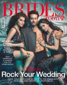 Tara Sutaria, Tiger Shroff and Ananya Pandey on the cover of Brides Today, May 2019