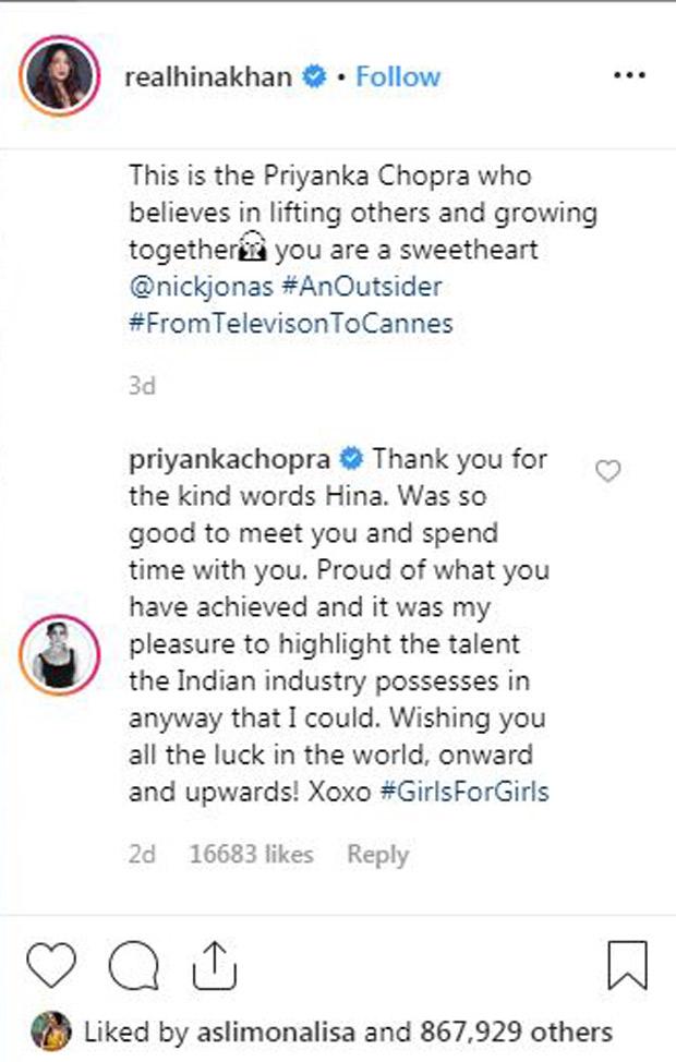 Cannes 2019: Priyanka Chopra has the sweetest reply to Hina Khan's post over them bonding!