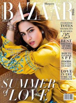 Sara Ali Khan on the cover of Harper's Bazaar, Jun 2019