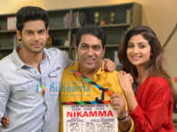 on the sets of the movie Nikamma