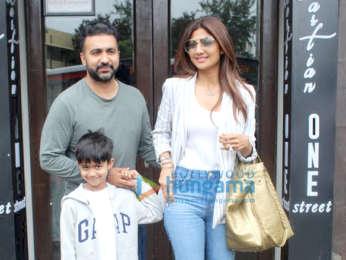 Photos: Shilpa Shetty and Raj Kundra spotted at Bastian in Bandra