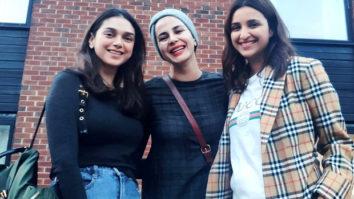 The Girl On The Train: Parineeti Chopra, Aditi Rao Hydari and Kirti Kulhari strike a pose on the sets of the film