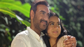 Ajay Devgn is all smiles as he poses with Nysa Devgn and Yug Devgn on Diwali