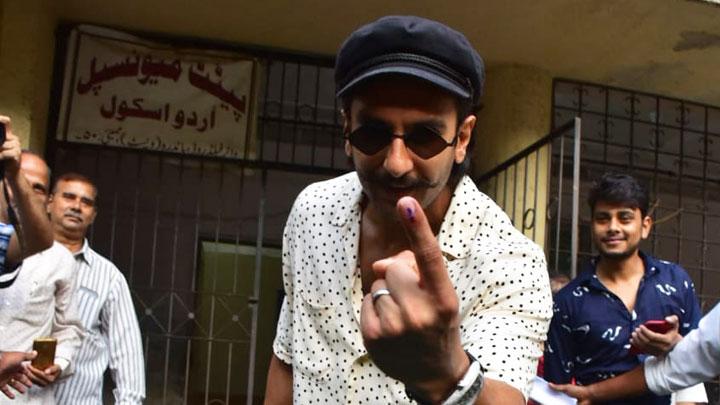 Ranveer Singh spotted casting his vote in Bandra