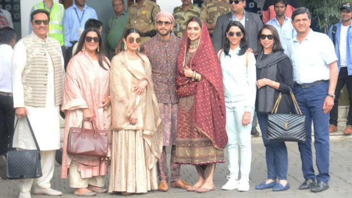 Ranveer Singh, Deepika padukone & Family spotted at Airport, Mumbai