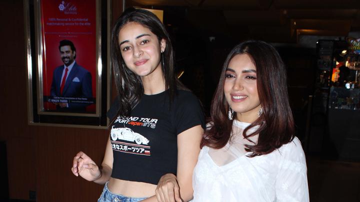 Ananya Panday & Bhumi Pednekar spotted promoting Film Pati Patni Aur Woh at Juhu PVR