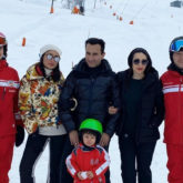 Saif Ali Khan, Kareena Kapoor Khan, Karisma Kapoor pose as they go sledding in Switzerland!