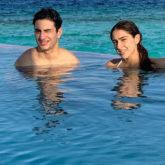 Sara Ali Khan and Ibrahim Ali Khan soak in the sun as they pose in the pool