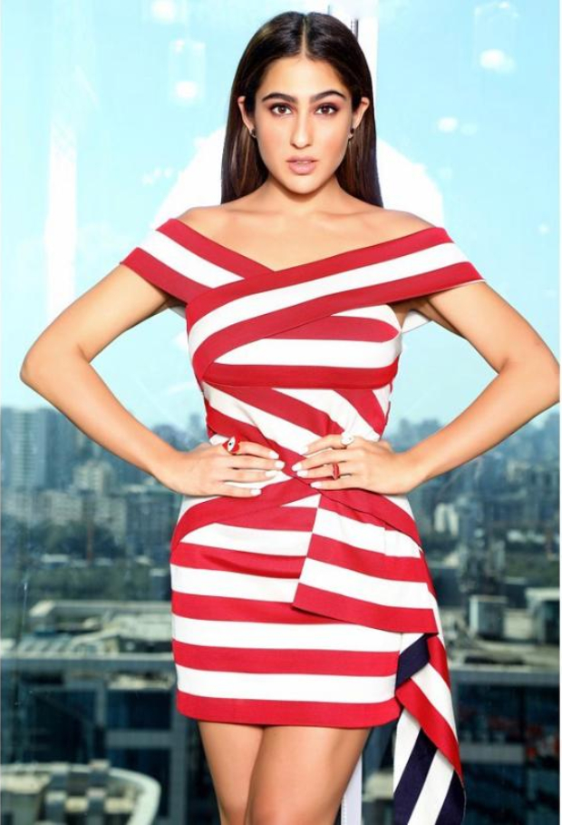 Sara Ali Khan's off-shoulder dress with red and white stripes is a perfect date outfit