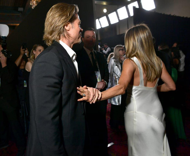 Brad Pitt and Jennifer Aniston's reunion at SAG Awards is setting the internet on fire