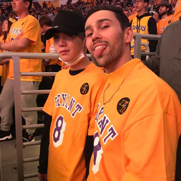American singer Max Schneider reunites with BTS' rapper Suga at Lakers game as they honour late Kobe Bryant