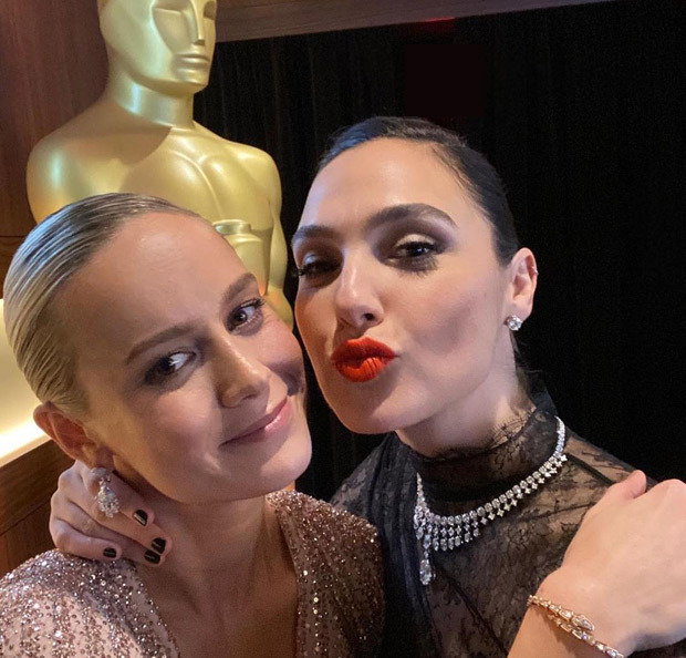 Brie Larson and Gal Gadot have an epic Marvel & DC crossover moment in new photos!