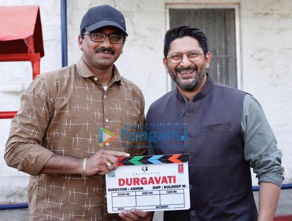 on the sets of the movie Durgavati