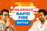 LAUGH RIOT Ayushmann vs Jeetu- Rapid Fire on Ranveer, Sara, Yami, Gay couples SMZS