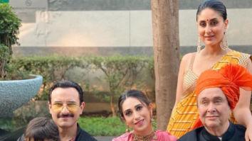 Saif Ali Khan, Kareena Kapoor Khan, Taimur, Karisma Kapoor and Randhir Kapoor strike a pose for family portrait at Armaan Jain and Anissa Malhotra's wedding