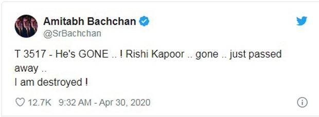Actor Rishi Kapoor passes away, Amitabh Bachchan confirms