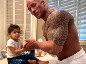 Dwayne Johnson helps his daughter Tiana wash her hands, raps 'You're Welcome' from Moana for her