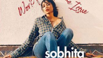 Sobhita Dhulipala takes pictures on her phone and styles herself for the cover image of a work from home issue magazine