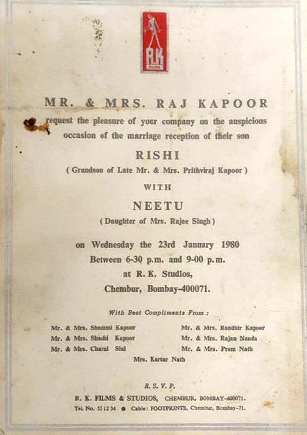 THIS is what Rishi Kapoor and Neetu Kapoor's wedding invite looked like!