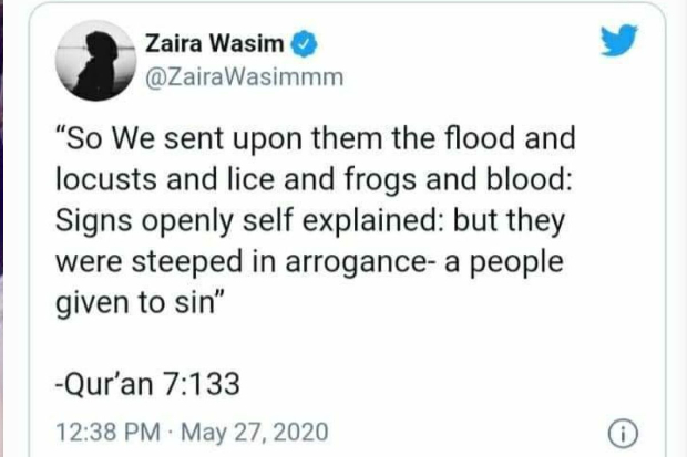 Zaira Wasim deletes Instagram and twitter handle after receiving hate for her tweet on the locust attacks