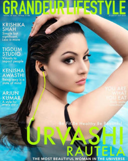 Urvashi Rautela on the cover of Grandeur Lifestyle, July 2020
