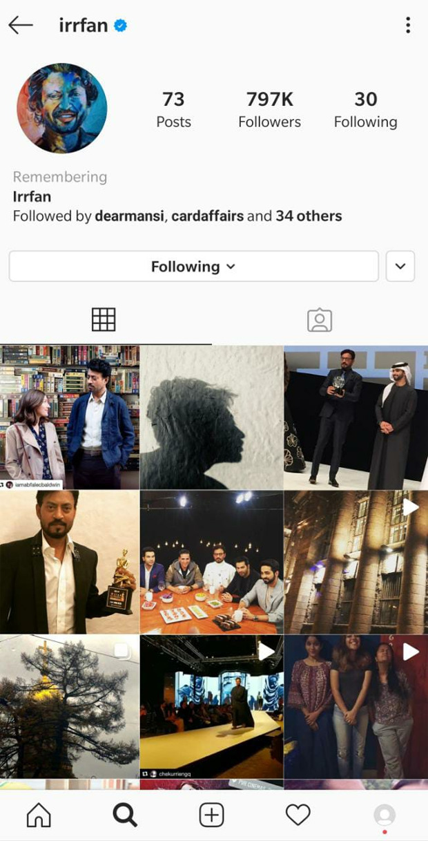 Irrfan Khan's Instagram profile gets memorialized after Sushant Singh Rajput