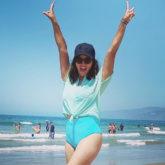 Sunny Leone follows social distancing at the beach