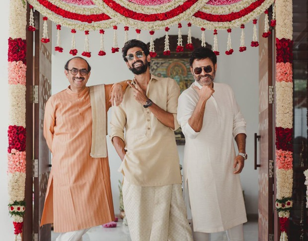 Rana Daggubati strikes a pose with father Suresh Babu and uncle Venkatesh ahead of his marriage with Miheeka Bajaj