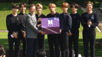 BTS meets South Korea's President Moon Jae In at Blue House to give a speech during National Youth Day