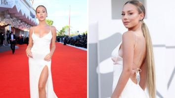 Elite actress Ester Expósito stuns in satin backless and thigh-high slit Jacquard gown at Venice Film Festival 2020