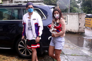 Gurmeet Choudhary and Debina Bonnerjee spotted with their pet dog in Bandra