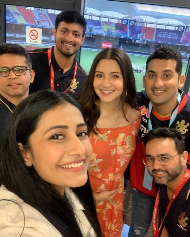 Anushka Sharma and Yuzvendra Chahal's fiancee Dhanashree Verma click a selfie after Virat Kohli'sRoyal Challengers Bangalore defeat Rajasthan Royals