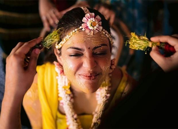 Bride-to-be Kajal Aggarwal gets captured at her candid best on her Haldi ceremony