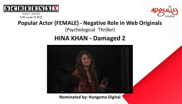 Hina Khan bags an award for Damaged 2 in the popular actor female in a negative role category