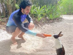 Varun Dhawan makes a new furry friend on his trip to Maldives