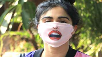 Adah Khan's quirky mask with red parted lips gets heads turning
