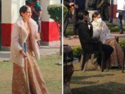 LEAKED PHOTOS: Sara Ali Khan chats with Dhanush, sports traditional lehenga on the sets of Atrangi Re as she plays cricket