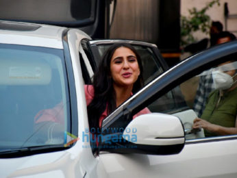 Photos: Sara Ali Khan snapped while promoting Coolie No. 1 at Mehboob Studios