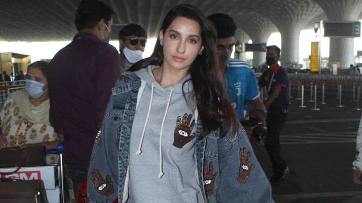 Spotted - Sharad Kelkar, Hina Khan and Nora Fatehi at Airport