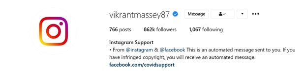 Vikrant Massey's Instagram account hacked again; hackers pose as Instagram support page