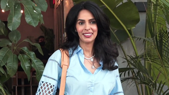 Mallika Sherawat spotted at a restaurant in Juhu for lunch