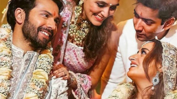 Varun Dhawan - Natasha Dalal Wedding: The newlyweds share happy moment with Rohit Dhawan and Jaanvi Desai