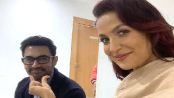 Aamir Khan and Elli AvrRam strike a pose in latest selfies after shooting for a somg in Jaipur for Amin Hajee's film Koi Jaane Na