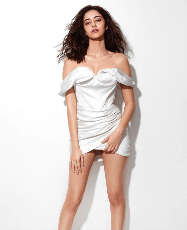 Ananya Panday looks glamourous and edgy in Nasty Gal white off-shoulder bodycon
