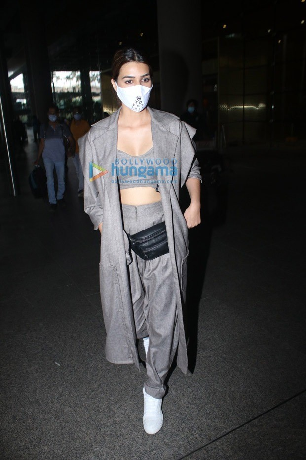 Kriti Sanon mixes power dressing with comfort at the airport as she wraps up first schedule of Bachchan Pandey
