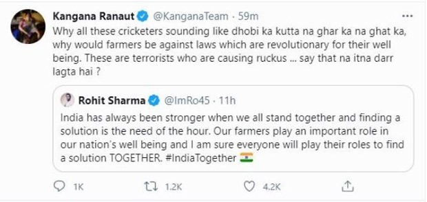 Rohit Sharma, Arnab Goswami, Treason!  Kangana Ranaut's two tweets were deleted because it violated Twitter rules.