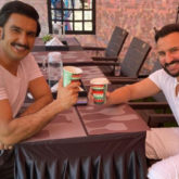 Saif Ali Khan and Ranveer Singh twin in white as they bond over a cup of coffee on set