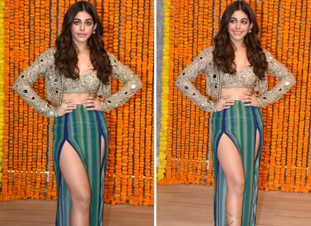 Alaya F pairs mirror work blouse and jacket with thigh-high slit tulip skirt for 'Aaj Sajeya' song launch