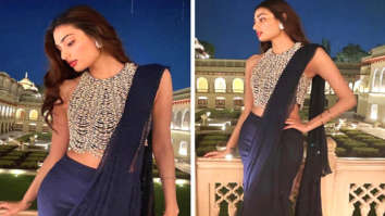 Athiya Shetty pairs pearl embellished blouse with navy draped chiffon saree worth Rs. 78,800