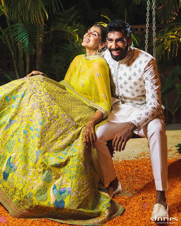 Jasprit Bumrah and Sanjana Ganesan keep it vibrant and regal in Anita Dongre and Antar Agni for mehendi and haldi ceremonies 2